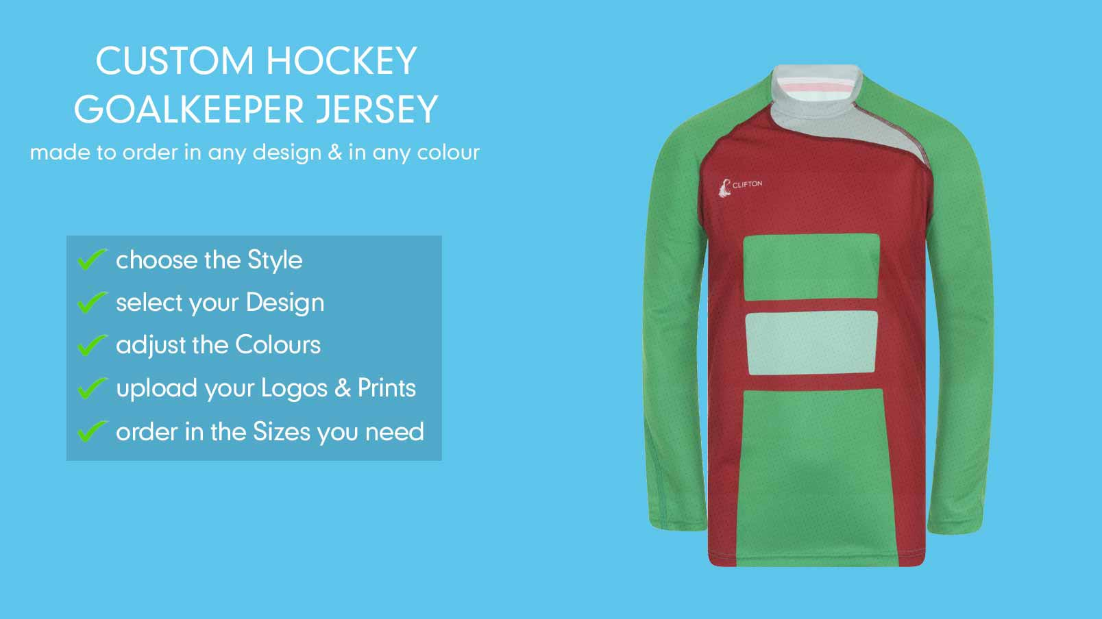 d42f2424 Lightweight Customised Hockey Goalkeeper Jersey | CLIFTON
